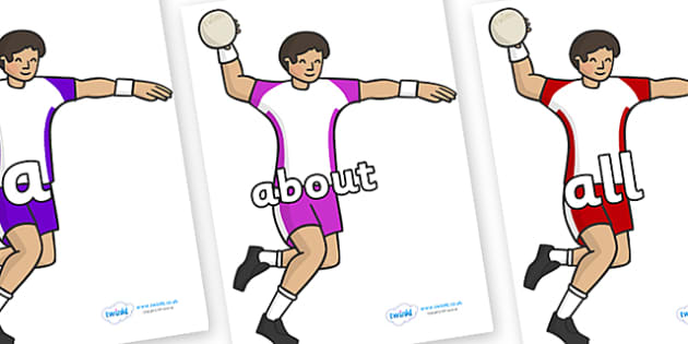 100 High Frequency Words on Handball Players - High frequency words, hfw, DfES Letters and Sounds, Letters and Sounds, display words