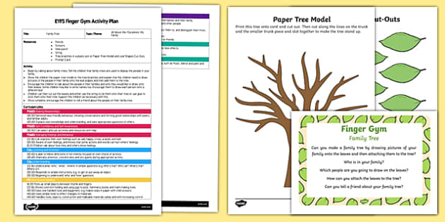 EYFS Family Tree Finger Gym Plan and Resource Pack