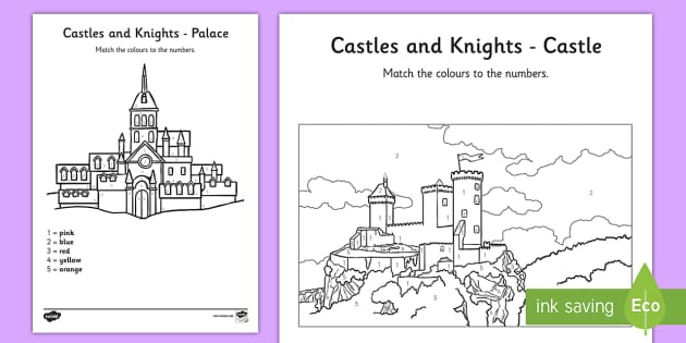 Castles And Knights Colour by Numbers - colouring, counting