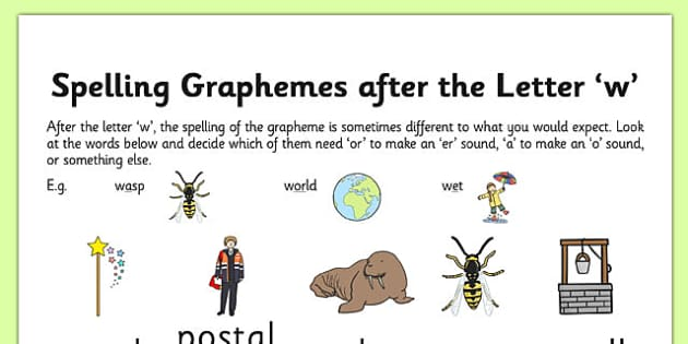 Spelling Graphemes after the Letter 'w' - phase, 5, five, phonics, graphemes, phonemes, phonics, letters and sounds, dfe, literacy, english, w, or, er, sound