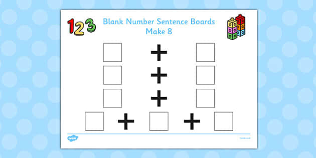Blank Number Sentence Boards to 10 Make 8 - sentence boards