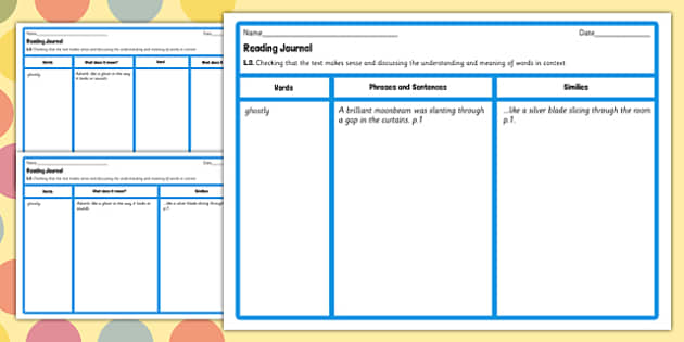 Reading Journal Writing Template to Support Teaching on The BFG - bfg, reading, journal, giant, words, phrase