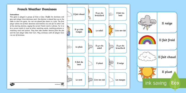 Weather Dominoes French - French Games, french dominoes, french weather, french group games,Scottish-translation