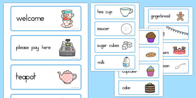 Tea Shop Role Play Word Cards - australia, tea shop, role-play, word cards