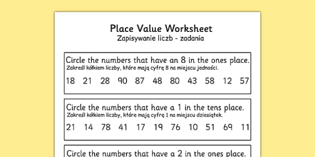 Place Value Worksheet 2 Digits Polish Translation - polish, place value, worksheet, 2 digits
