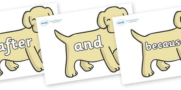 Connectives on Puppies - Connectives, VCOP, connective resources, connectives display words, connective displays