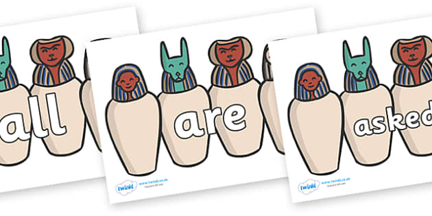 Tricky Words on Egyptian Jars - Tricky words, DfES Letters and Sounds, Letters and sounds, display, words