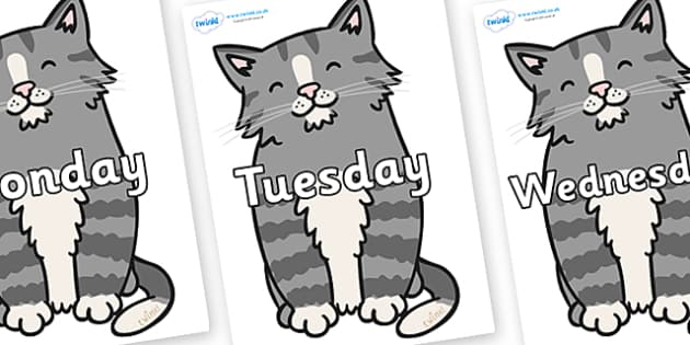 Days of the Week on Kittens - Days of the Week, Weeks poster, week, display, poster, frieze, Days, Day, Monday, Tuesday, Wednesday, Thursday, Friday, Saturday, Sunday