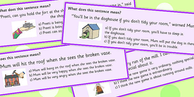 Building Idioms Multiple Choice Cards - Build, Idiom, Choice, Idioms