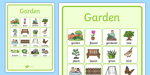 Garden Vocabulary Poster - garden, vocabulary, poster, display, back garden, outside, home