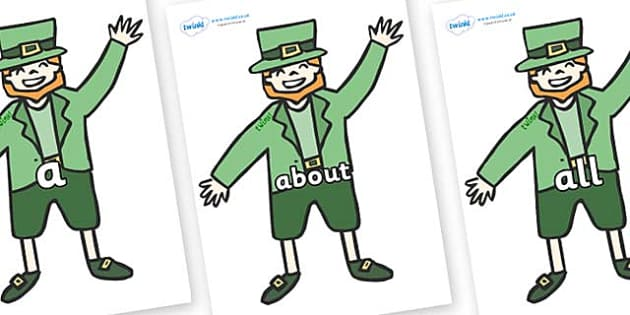 100 High Frequency Words on Leprechauns - High frequency words, hfw, DfES Letters and Sounds, Letters and Sounds, display words