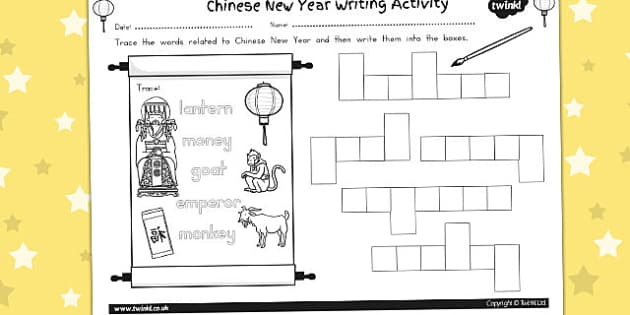 Chinese New Year Writing Activity Sheet - australia, writing, worksheet