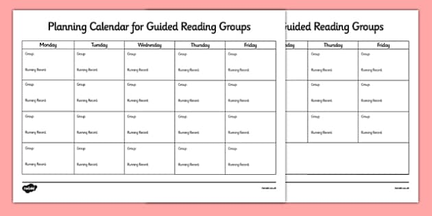 Guided Reading Planning Calendar - guided reading, reading, planning, calendar, planning calendar, reading calendar, guided reading calendar, literacy