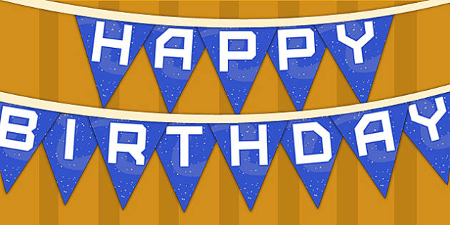 Space Themed Happy Birthday Bunting - parties, birthdays, flags