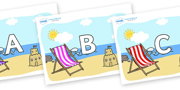 A-Z Alphabet on Seasides - A-Z, A4, display, Alphabet frieze, Display letters, Letter posters, A-Z letters, Alphabet flashcards