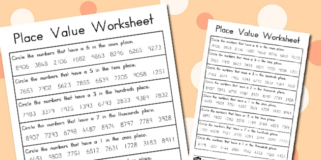 Place Value Worksheets 4 Digits - australia, place value, worksheets
