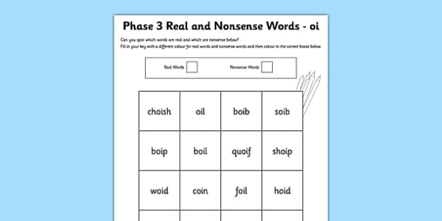 Phase 3 oi Colour by Phoneme Real and Nonsense Words Activity Sheet - phase 3, phase three, colour by phoneme, real and nonsense words, activity sheet, oi, worksheet