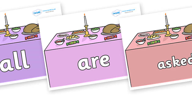 Tricky Words on Christmas Dinner (Tables) - Tricky words, DfES Letters and Sounds, Letters and sounds, display, words