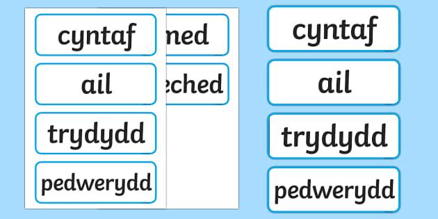 Cardiau Trefnolion Glas - trefnolion, rhif, mathemateg,Welsh - trefnolion, rhif, mathemateg,Welsh