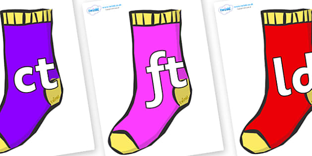 Final Letter Blends on Socks - Final Letters, final letter, letter blend, letter blends, consonant, consonants, digraph, trigraph, literacy, alphabet, letters, foundation stage literacy