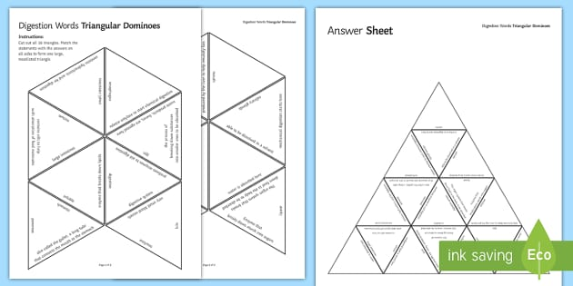 Digestion Triangular Dominoes - Tarsia, Digestion, Digestive System, Enzymes, Mouth, Stomach, Liver, Pancreas, Small Intestine, Larg, plenary activity