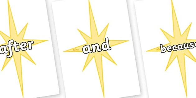 Connectives on Christmas Stars - Connectives, VCOP, connective resources, connectives display words, connective displays