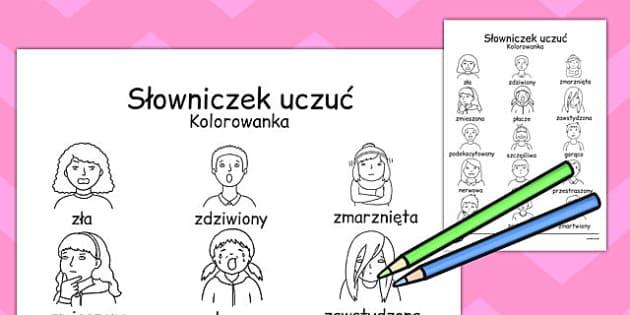 Kolorowanka Słowniczek uczuć po polsku - najmłodsi, emocje , Polish
