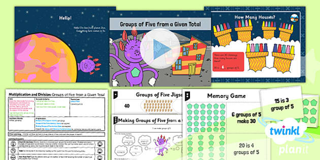 Planit Y1 Multiplication and Division Lesson Pack Multiplying and Dividing by Five (2) - division by grouping, groups of five, same size groups, groups from a given total, dividing by five, five times table, 5 x table, planning