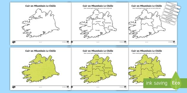 Cuir Éire le Chéile: An Mhumhain Jigsaw Puzzle Activity Sheets-Irish - Requests - ROI, Ireland, provinces, cúigí, Munster, An Mhumhain, map,,Irish