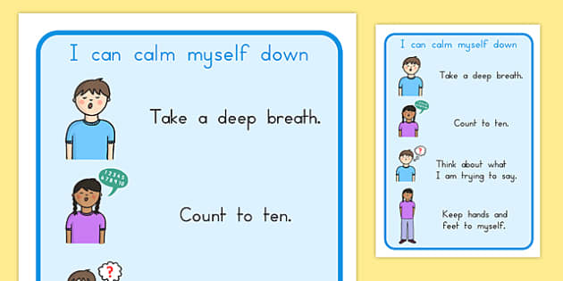 I Can Calm Myself Down Prompt Display Sign - behaviour management
