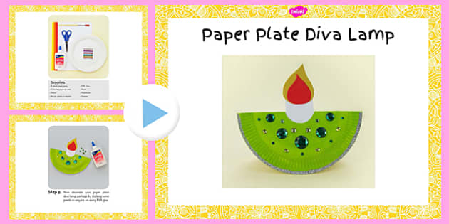 Paper Plate Diva Lamp Craft Instructions PowerPoint - paper plate, diva lamp, craft, instructions