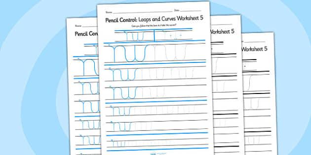 Pencil Control Loops And Curves Worksheet 5 - pencil control
