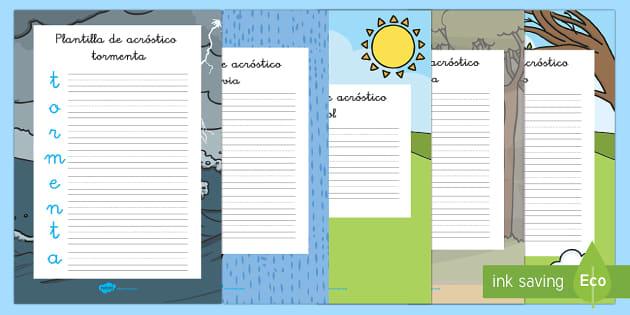 Acróstico: El tiempo - El tiempo y las estaciones del año, proyecto, poesia, escritura, natural,Spanish