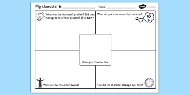 Character Description Writing Template character description – Character Profile Worksheet