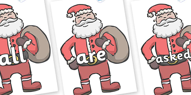 Tricky Words on Santas - Tricky words, DfES Letters and Sounds, Letters and sounds, display, words