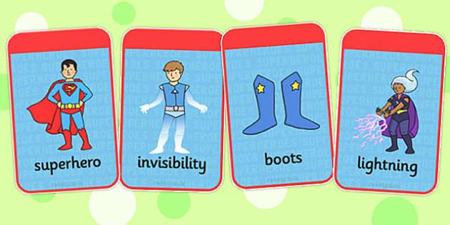Superhero Flashcards - superheroes, flash cards, visual aids