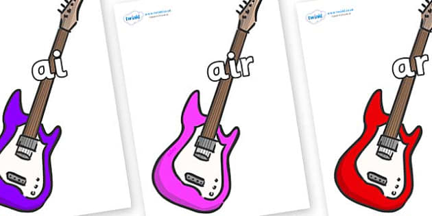 Phase 3 Phonemes on Guitars - Phonemes, phoneme, Phase 3, Phase three, Foundation, Literacy, Letters and Sounds, DfES, display