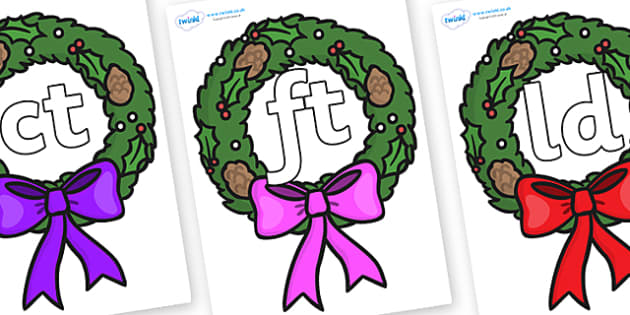 Final Letter Blends on Christmas Wreaths - Final Letters, final letter, letter blend, letter blends, consonant, consonants, digraph, trigraph, literacy, alphabet, letters, foundation stage literacy