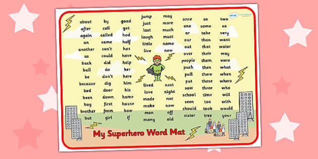 Superhero Themed Key Stage 1 Word Mat - superheroes, KS1 mat