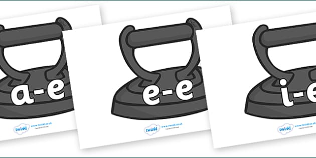 Modifying E Letters on Irons - Modifying E, letters, modify, Phase 5, Phase five, alternative spellings for phonemes, DfES letters and Sounds