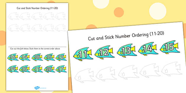 Under the Sea Themed Cut and Stick Number Ordering Activity 11-20