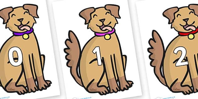 Numbers 0-31 on Dog - 0-31, foundation stage numeracy, Number recognition, Number flashcards, counting, number frieze, Display numbers, number posters
