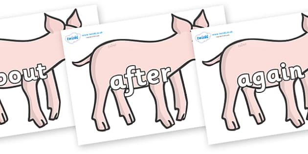 KS1 Keywords on Piglets - KS1, CLL, Communication language and literacy, Display, Key words, high frequency words, foundation stage literacy, DfES Letters and Sounds, Letters and Sounds, spelling