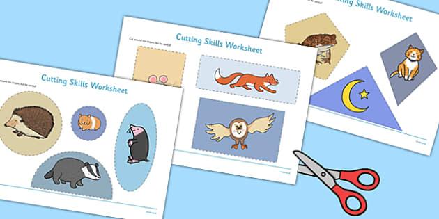 Nocturnal Animals Cutting Skills Worksheet - nocturnal animals, cutting skills, worksheet