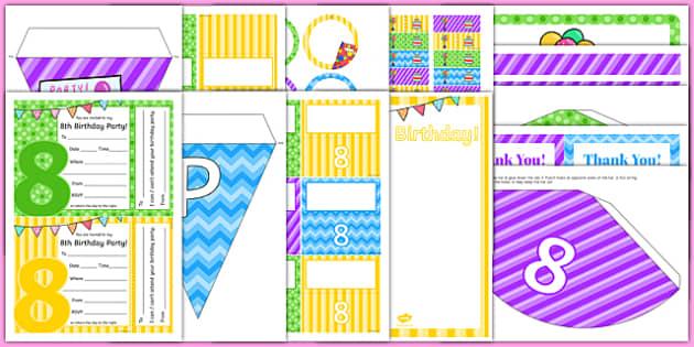8th Birthday Party Pack - 8th birthday party, 8th birthday, birthday party, pack