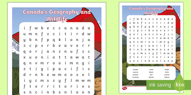 Canada's Geography and Wildlife Word Search  - Canada, wildlife, animals, outdoors, beaver, loon,