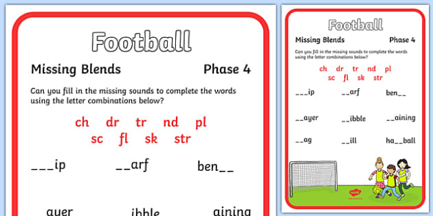 Football Themed Blends and Clusters Missing Sounds Worksheet - football, blends, clusters, sound