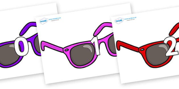 Numbers 0-50 on Sunglasses - 0-50, foundation stage numeracy, Number recognition, Number flashcards, counting, number frieze, Display numbers, number posters