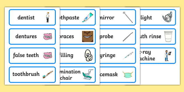 Dentists/Dental Surgery Role Play Word Cards - Dentists/Dental Surgery Role Play Pack, Word cards, Word Card, flashcard, flashcards, dentist, dental nurse, checkup, teeth, dental care, dental health, filling, extraction, health, role play, display, p