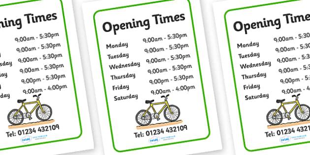 Bicycle Repair Shop Opening Times - Bike repair, bicycle, bikes, opening times, shop times, timetable, transport, role play, wheels, tyres, bikes, bike role play, fix, repair